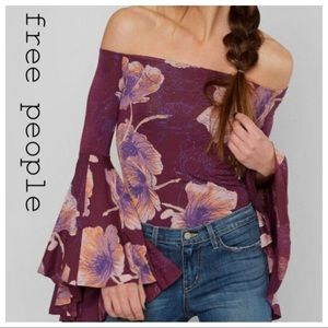 Free People Small Off The Shoulder Bell Sleeve Top